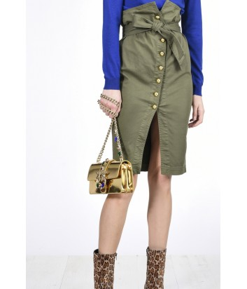 Котоновая юбка на пуговицах PINKO с завышенной талией цвета хаки