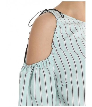 Блуза с открытым плечом PINKO в мелкую полоску голубая