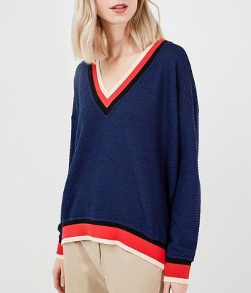 Темно-синий джемпер PINKO с бело-красной полоской по канту