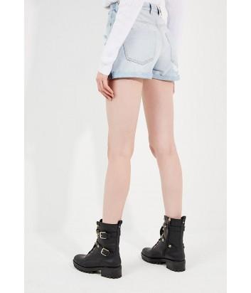 Джинсовые шорты PINKO с рваными деталями голубые