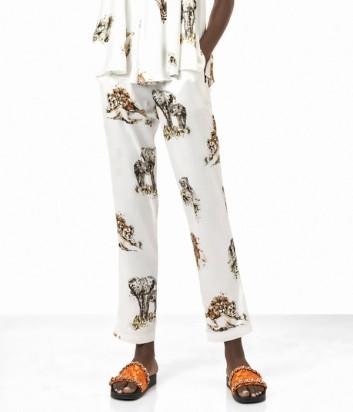 Белые брюки PINKO с тематическим принтом сафари