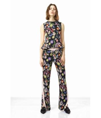 Черные брюки PINKO с ярким цветочным принтом и лампасами