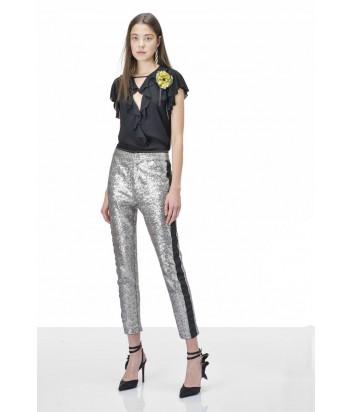 Блуза PINKO с рюшами на рукавах и декольте черная