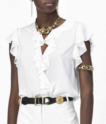 Блуза PINKO с рюшами на рукавах и декольте белая