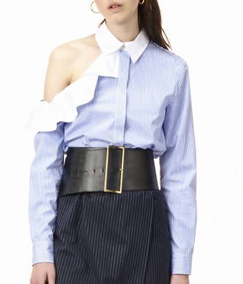 Рубашка в мелкую полоску PINKO с открытым плечом