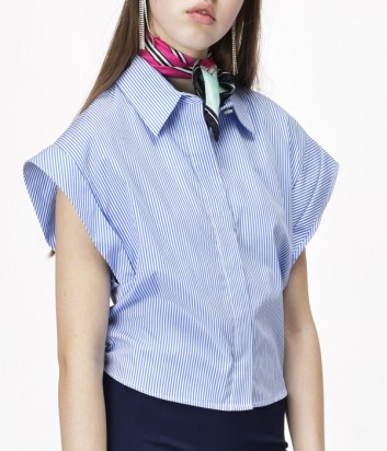 Котоновая рубашка-кимоно PINKO в мелкую полоску