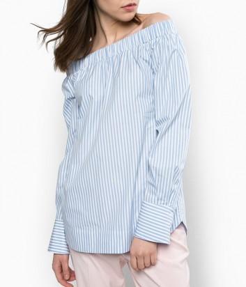 Рубашка PINKO с открытыми плечиками в бело-голубую полоску