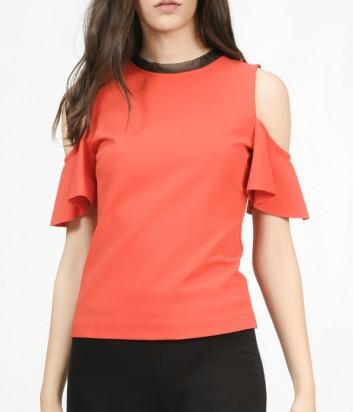 Блуза PINKO с открытыми плечиками и рюшами красная