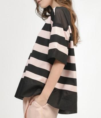 Блуза с овальным вырезом PINKO в розово-черную полоску