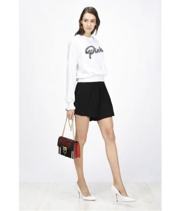 Свитшот с капюшоном PINKO и надписью бренда белый
