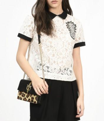 Белая кружевная блуза PINKO с аппликацией в виде ананаса