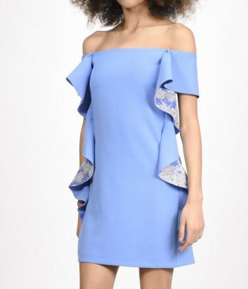 Платье PINKO с открытыми плечиками и крупными рюшами синее