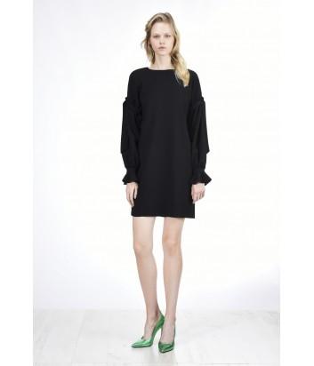 Легкое платье PINKO с длинным воздушным рукавом черное