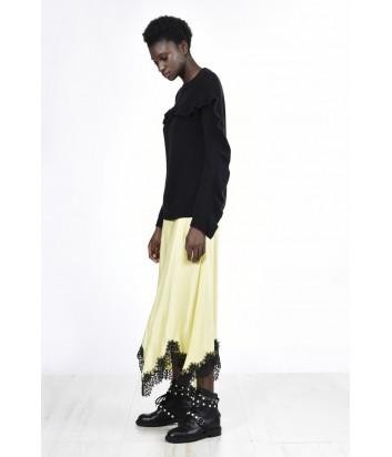Трикотажный черный свитер PINKO с рюшами черный