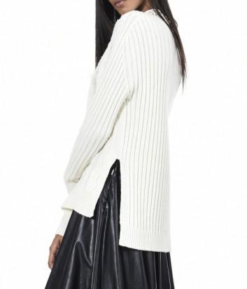 Молочный свитер PINKO с узором и ассиметричным кроем