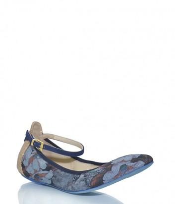 Балетки Loriblu 0145 черные с синим цветочным принтом