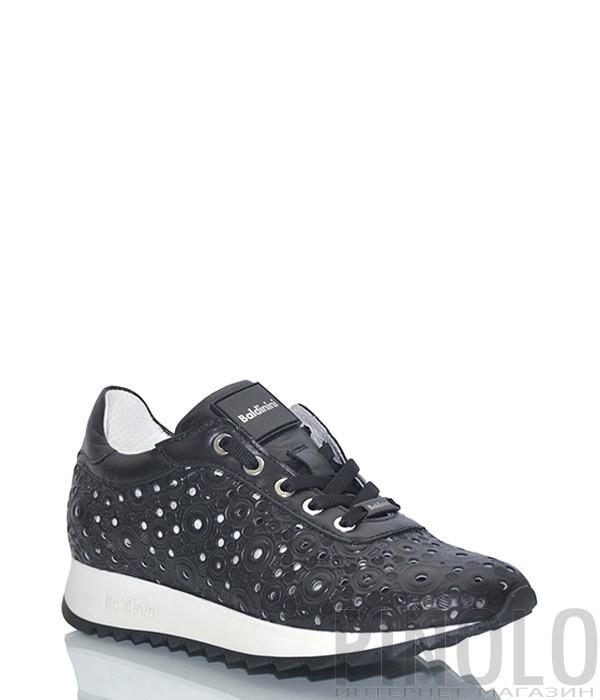 Кожаны кроссовки Baldinini 898401 с перфорацией черные