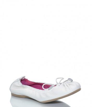 Кожаные балетки Le Babe 1824 с завязками белые