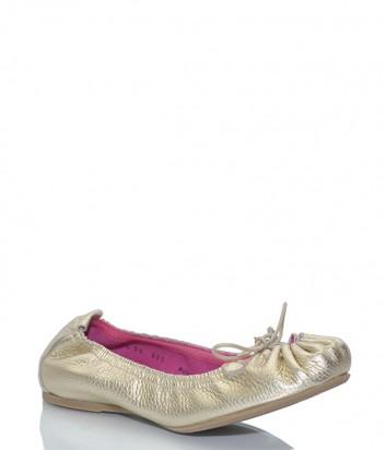 Кожаные балетки Le Babe 1824 с завязками золотые