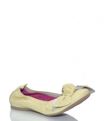 Кожаные балетки Le Babe 1821 с крупным бантиком желтые