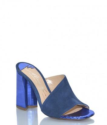 Кожаные сабо Merlyn 311 с замшевыми вставками синие