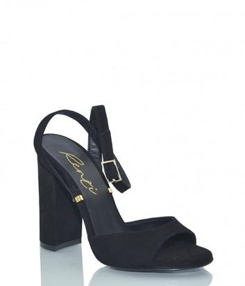 Замшевые босоножки Renzi 563300 на широком каблуке черные