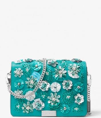 Сумка на цепочке Michael Kors Jade Floral с цветочной аппликацией бирюзовая