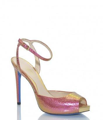 Кожаные босоножки Loriblu 71014 розовые с золотым переливом
