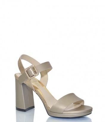 Кожаные босоножки Loriblu 57061 на широком каблуке золотые