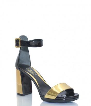 Лаковые босоножки Loriblu 7063 на широком каблуке черно-золотые