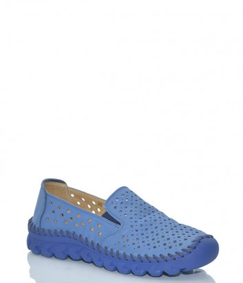 Женские мокасины Francesco 601 из перфорированной кожи синие