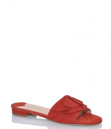 Замшевые мюли Fabio Rusconi 3615 на маленьком каблуке красные