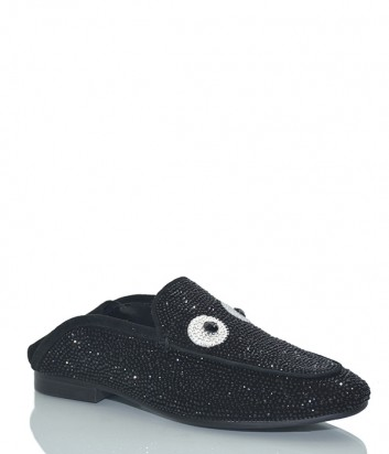Кожаные лоферы Lola Cruz 258Z00BK с россыпью кристаллов черные