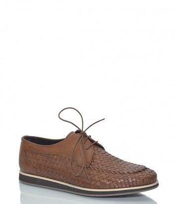 Кожаные туфли Baldinini 697156 с эффектом плетения коричневые