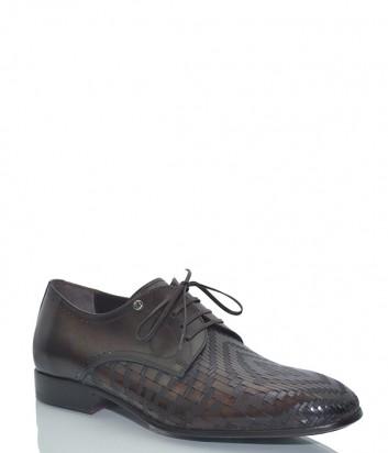 Кожаные туфли Mario Bruni 60872 с текстурным узором коричневые
