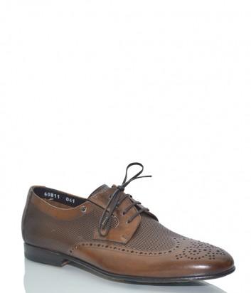 Кожаные туфли Mario Bruni 60811 с перфорированным узором рыже-коричневые