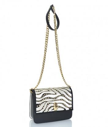 Черная кожаная сумка Cavalli Class Milano с золотой фурнитурой и вышивкой