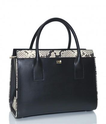 Черная кожаная сумка Cavalli Class Lucille с тесьмой под рептилию