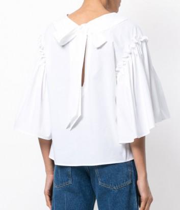 Хлопковая блуза P.A.R.O.S.H. с красивым бантом на спине белая