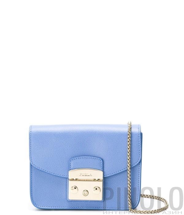 18a240a023cc Маленькая кожаная сумка Furla Metropolis 914336 через плечо голубая ...
