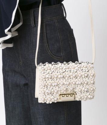Кожаная сумка Zac Zac Posen декорированная цветами и жемчужинами кремовая