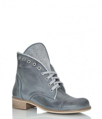 Кожаные ботинки Ermans 6722 с заклепками на язычке серые