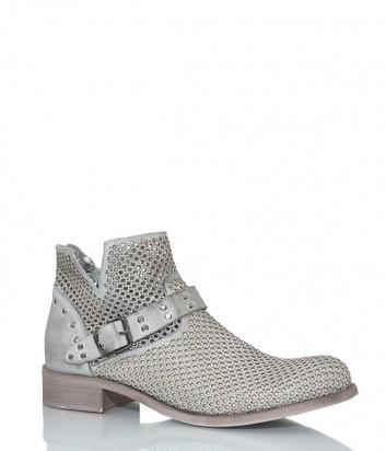 Кожаные ботинки Ermans 29881 с перфорацией серые