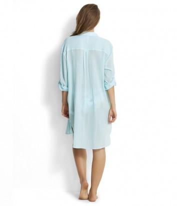 Длинная рубашка Seafolly 53108-CU из хлопка голубая