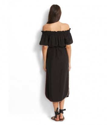 Длинное платье Seafolly 53217-DR черное с ярким узором