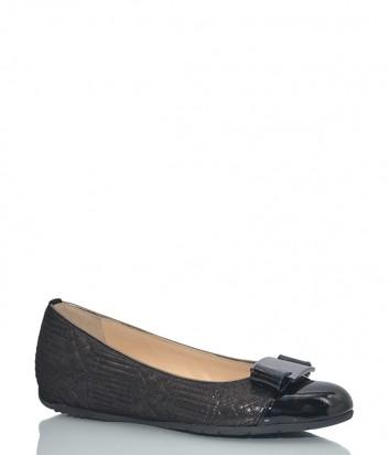Кожаные балетки Essere 80058 с лаковым носочком черные