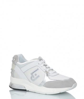 Женские кроссовки Liu Jo 18021 с замшевыми вставками белые