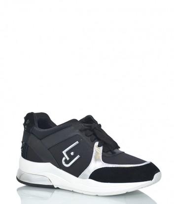 Женские кроссовки Liu Jo 18021 с замшевыми вставками черные