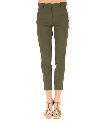 Оливковые брюки PINKO с бело-бежевыми лампасами по бокам