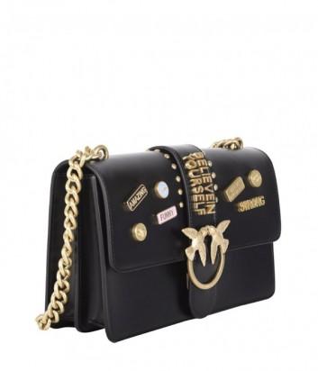 Сумка на цепочке Pinko Love Bag 1P212 из гладкой кожи черная